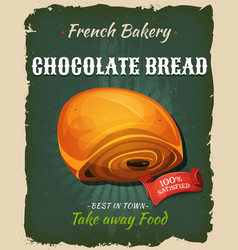 Retro chocolate bread poster vector
