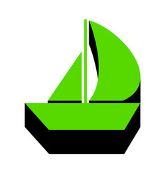 Sail boat sign green 3d icon with black vector