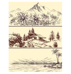 sea and mountains landscapes set vector image
