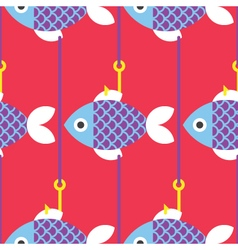 Seamless-Fish-and-Fishing-Pole-pattern vector