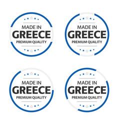 set four greek icons made in greece vector image