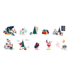 set male and female characters prepare vector image