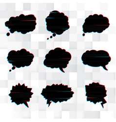 set of black speech bubbles in the style of a vector image