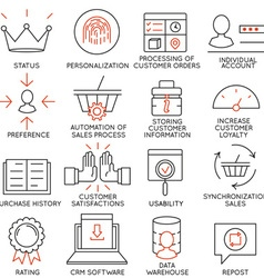Set of icons related to business management - 12 vector image