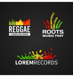 Set of reggae music equalizer logo emblem vector