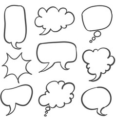 Set of text bubble hand draw vector