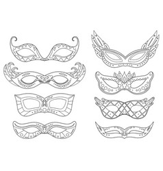 Set outline carnival masks with various vector