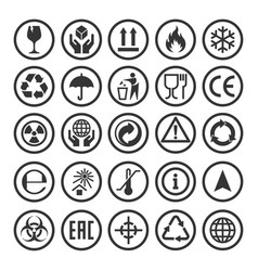 set packaging symbols vector image