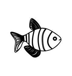 silhouette clownfish aquatic animal icon vector image