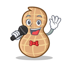 Singing peanut character cartoon style vector