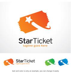 Star ticket logo template design vector