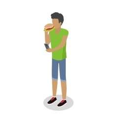 Street Food Buyer Isolated Man Eats Hot Dog vector