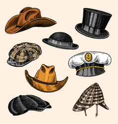 Summer hats vintage collection for elegant men vector