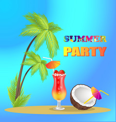 Summer party advertisement banner with tall palms vector
