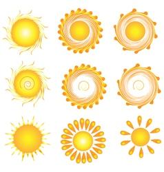 Suns twirly set vector