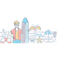 surfing - modern colorful line design style vector image