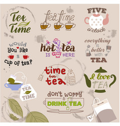 teatime quote set lettering hand drawn cup vector image