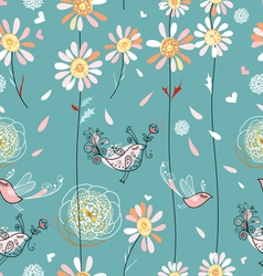 texture of daisies and birds vector image