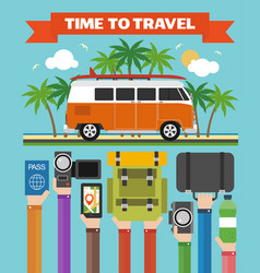time to travel modern design flat with minibus vector image