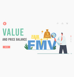 Value and price balance landing page template vector
