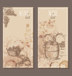 Wine list cards Menu cards sketch vector image