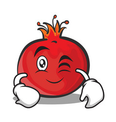 Wink face pomegranate cartoon character style vector