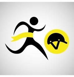 Winner silhouette sport horse ridding helmet vector