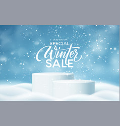 winter product podium on background drifts vector image