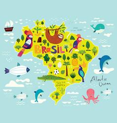 With map brazil symbols brazil vector