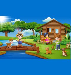 Young farmers activities with animals on farm vector