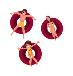 Caucasian woman man and little girl floating on vector