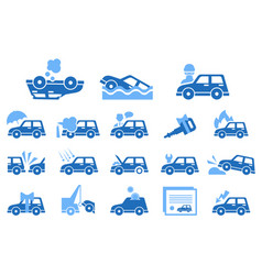 flat set of icons on vehicle insurance vector image vector image