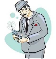 Retro telephone man vector image