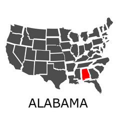 sstate of alabama on map of usa vector image vector image