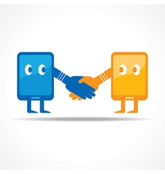 Businessman handshake with tablet stock vector image
