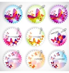 butterflies stickers set vector image vector image