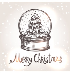 Christmas Card With Sketch Snowglobe vector image vector image