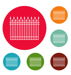 Fence with metal rod icons circle set vector