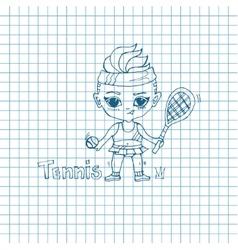 Sketch Girl Tennis-Player vector image