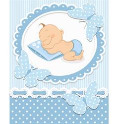 Sleeping baby boy vector image