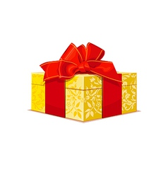 beautiful gold wedding gift box with a red bow and vector image vector image