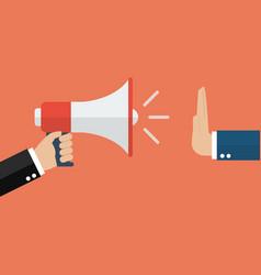 hand gestures no to megaphone vector image vector image