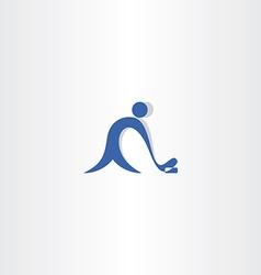 hockey player logo blue icon vector image