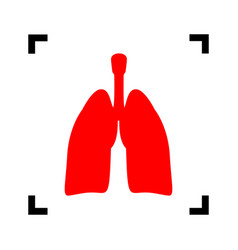 human organs lungs sign red icon inside vector image