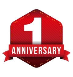 One year anniversary badge with red ribbon vector image