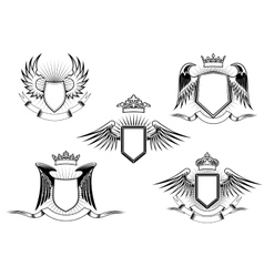 Set of heraldic winged shields vector image