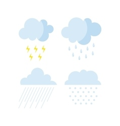 Set of rainy weather clouds icons vector image