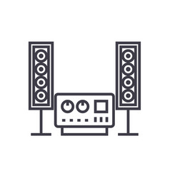 stereo sound hi-fi system line icon sign vector image vector image