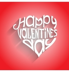 Valentines day card with lettering in heart-form vector image