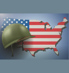 american flag and military helmet vector image